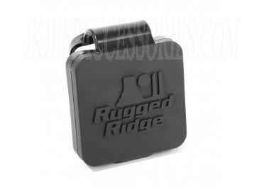 2 Inch Receiver Hitch Plug Black Rugged Ridge Logo