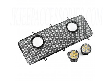 Grille Insert Kit With Dual 3.5 Inch LEDs 07 16 Jeep Wrangler JKJKU
