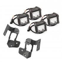 A-Pillar Light Mount Kit Text Dual Cube 07-17 Jeep Wrangler JK