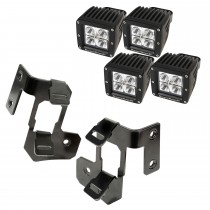 A-Pillar Light Mount Kit, Semi-Gloss Black, Square LED, 07-15 Wrangler