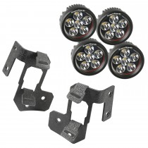 A-Pillar Light Mount Kit, Textured Black, Round LED, 07-15 Wrangler