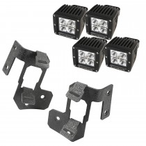 A-Pillar Light Mount Kit, Textured Black, Square LED, 07-15 Wrangler