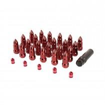 Bullet Lug Nut and Valve Stem Cap Kit Red Jeep