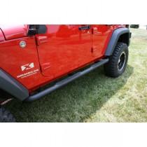 3-Inch Round Tube Steps Black 07-17 Jeep Wrangler Unlimited (JK)