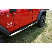3-Inch Round Tube Side Steps Stainless 07-17 Wrangler Unlimited (JK)