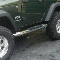 4-inch Round Side Steps Stainless Steel 07-17 Jeep Wrangler (JK)