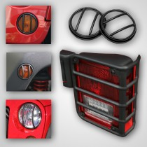 10-Piece Euro Guard Light Kit Black 07-17 Jeep Wrangler