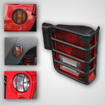 8-Piece Euro Guard Light Kit Black 07-17 Jeep Wrangler