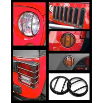 19-Piece Euro Guard Light Kit Black 07-17 Jeep Wrangler