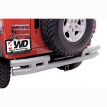 3 Inch Rear Double Tube Bumper without Hitch in Black Powder Coat