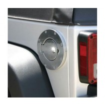 Billet Style Gas Cover 07 to 14 Jeep Wrangler Polished Billet Locking Door Design with Key