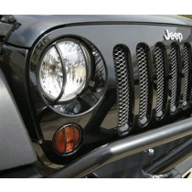 Euro Front Light Guard Kit 6 Piece Set Black 07 to 14 Wrangler 2 4Dr