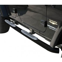 Body Side Guards with Step Jeep JK 4Dr 07 to 14 Textured Black Powder Coat Off Road finish