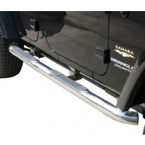 Body Side Guards with Step Jeep JK 4Dr 07 to 14 Polished Stainless