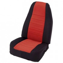 2/4 DOOR Neoprene Seat Cover  Front  Black/Red  Front Set