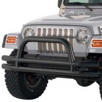 3 Inch Front Double Tube Bumper with Hoop in Textured Black Powder Coat